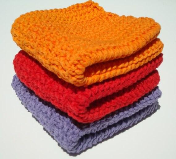 Three Cotton Washcloths: Purple, Red, Orange Dishcloths, Dish Cloths, Wash cloths - Crochet, Crocheted - Kitchen, Home Decor - Ready To Ship