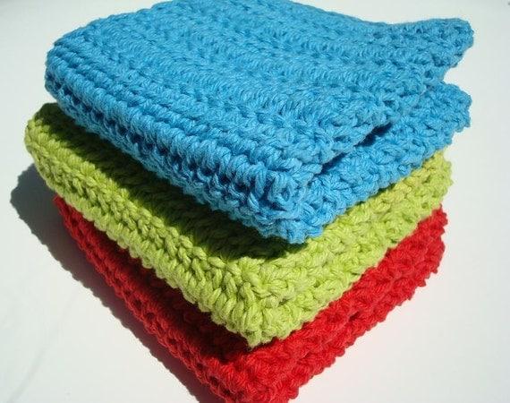 Three Cotton Dishcloths, Bright Green, Blue, Red Dishcloths, Crochet Dishcloths, Crocheted Dishcloths, Dish Cloths