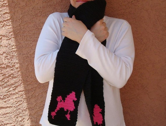 Hoooked Pink and Black Poodle Scarf for Women - Crochet Black and Pink Scarf - Poodle Silhouette - Dog Scarf