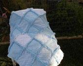Baby boy rag quilt minky blue polka dot flannel