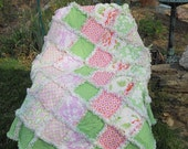 Shabby Chic Baby girl rag quilt reversible Heather Bailey Tanya Whelan Barefoot Roses