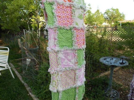 Baby girl rag quilt reversible Heather Bailey fabrics beach picnic throw
