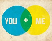 SALE - CMYK You and Me Giclee Print 8x10 with Textured Background