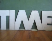 Vintage 1940s LARGE White Enamel Metal Letter T of the Alphabet