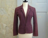 Vintage 1970s Jacket, 70s Fitted Jacket, Corduroy Cropped in Purple Plum SM