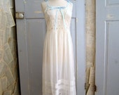 1920s Dress, White Lace 1920s Dress Nightgown, Semi Sheer Dress SM