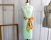 Green 1960s Dress, Celery Green Summer Dress, Sleeveless Cotton Dress with Sash LG