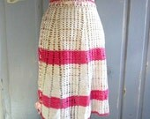 1940s Apron, Crocheted Pink and White Apron, Crocheted Half Apron
