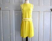 1960s Mini Dress, Yellow 60s Mini Dress, Yellow Summer Dress XS