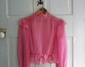 1970s Sheer Blouse, Victorian Style 70s  Lace Blouse in Fuchsia Pink SM