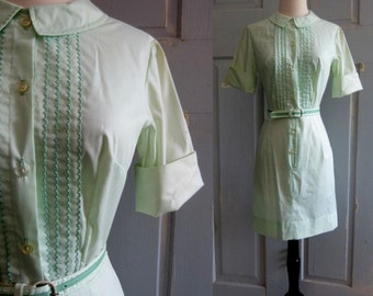 Vintage 1960s Mini Dress 60s Green Mini Dress Cotton Womens Extra Small to Small