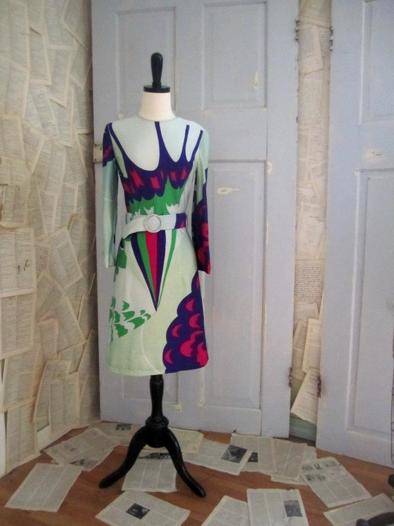 Vintage 1970s Dress, Hanae Mori 1970s Mod Dress, Abstract Print Dress SM