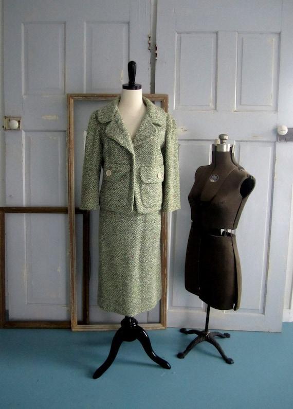 Vintage 1950s Suit, 1950s Wool Tweed Suit, Green Vintage Suit