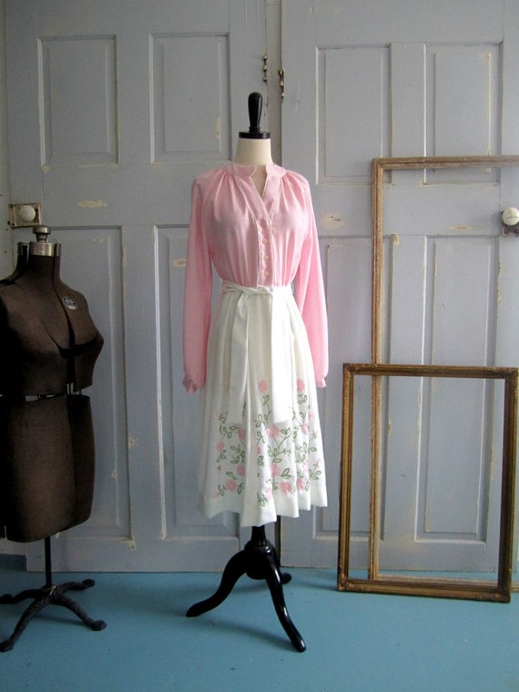 Vintage 1970s Dress, Pink Vintage Dress with Embroidery, SM
