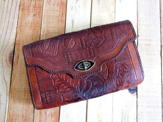 1950s Tooled Leather Clutch Purse, 50s Leather Clutch