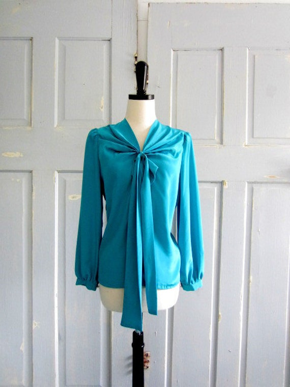 Vintage Silk Blouse, 1970s Turquoise Blouse, Turquoise Blue Blouse SM MED