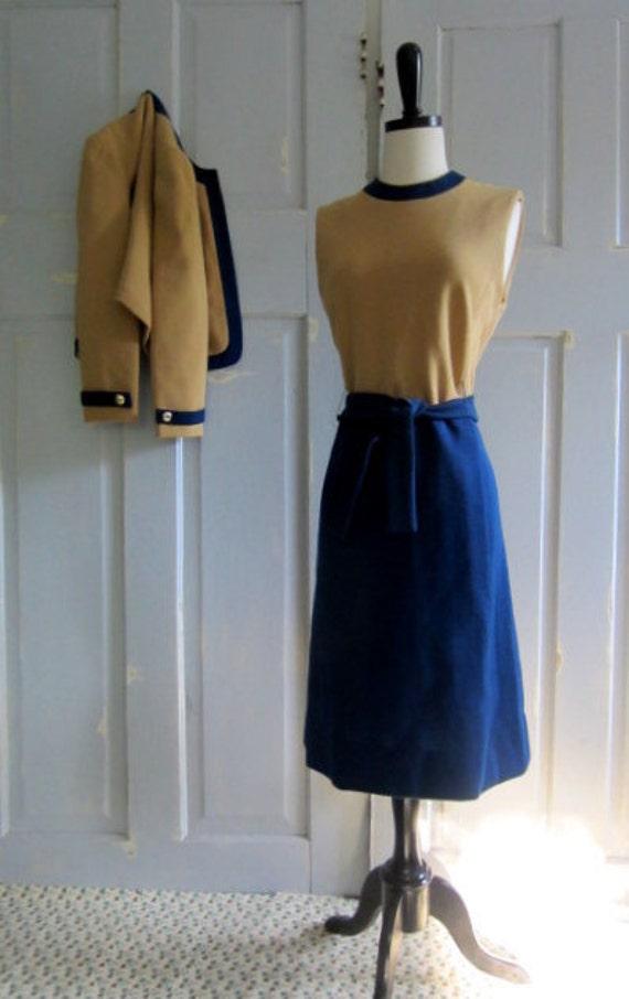 Vintage 60s Dress, 1960s Mod Dress Suit, 60s Wool 2 Piece Outfit in Color Blocks MED