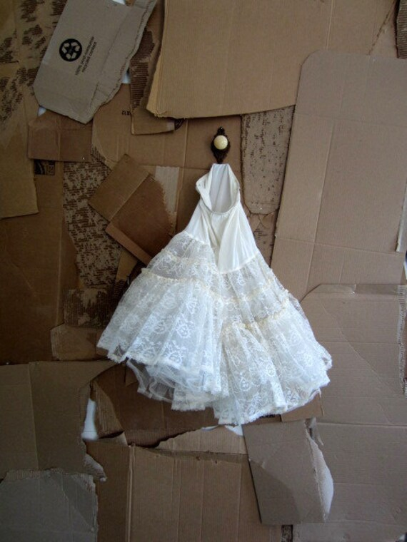 1950s Crinoline, 1950s White Crinoline, White Lace Crinoline SM