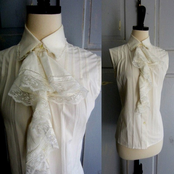 White Vintage Blouse, White Cotton Blouse with Ruffled Bodice SM