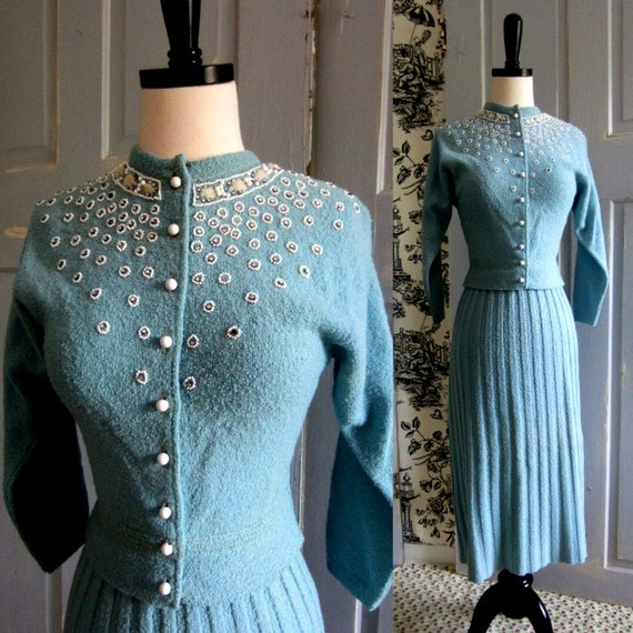 1940s Sweater Dress, 40s Beaded Sweater and Skirt SM