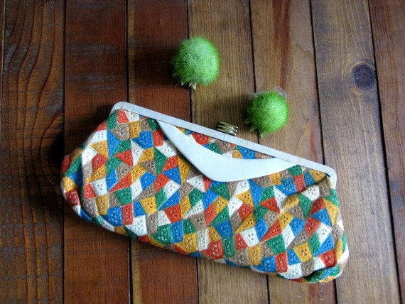 Vintage Leather Clutch, 1960s Patchwork Leather Clutch Purse