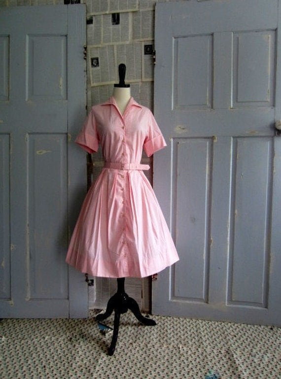 1950s Pink Dress 50s Full Skirt Shirt Waist Womens Vintage