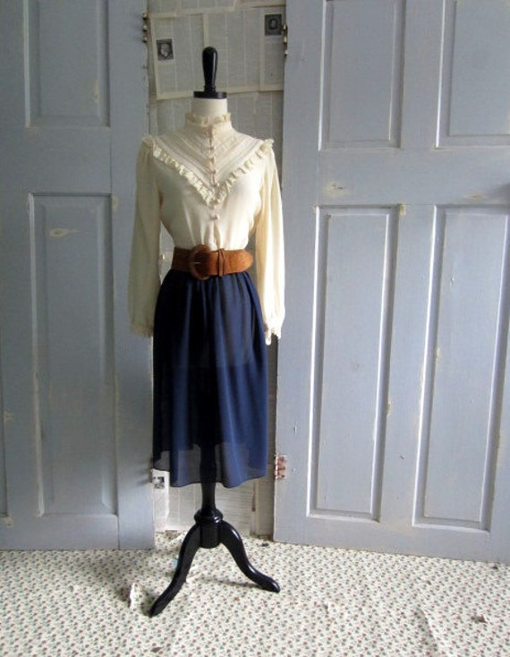 1970s Dress, 70s Victorian Style Blue and Off White Dress SM MED