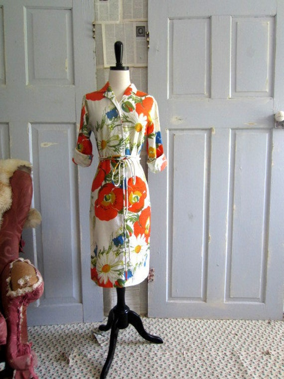 1960s Womens Dress Bold Abstract Floral Dress Orange Summer Cotton Size Small