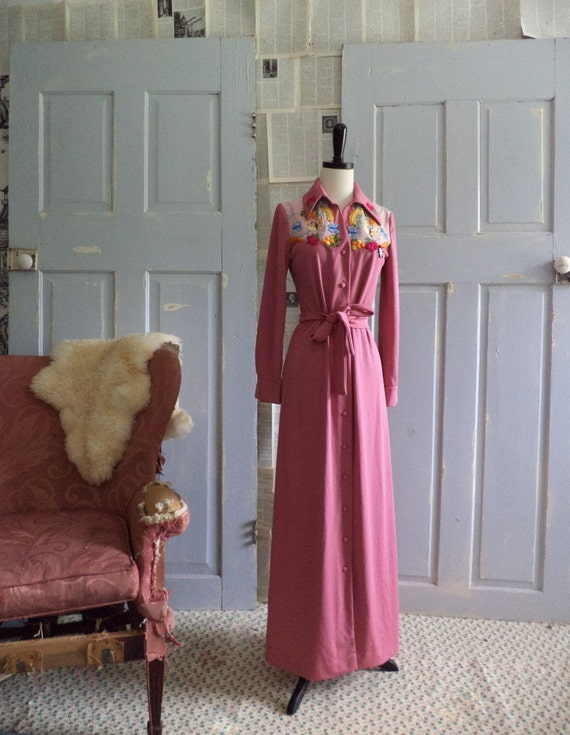 1970s Maxi Dress 70s Appliqued Hippie Maxi Rose Colored Long Dress Womens Size Medium