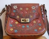 Vintage Rustic Hand Painted Flowers Brown Tooled Leather Purse