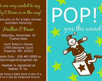 "Baby Shower Invitation ""Pop Goes the Weasel"""