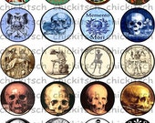 Skeleton and Skull Digital Bottle Cap Pictures to use with Xyron Sticker Machines