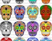 Colorful Sugar Skull Digital Pictures to Print on Shrink Plastic Film