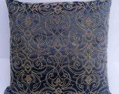 kilim pillow charcoal grey pillow beaded pillow dec pillows decorative pillows vintage bedding pillow gold beads wedding pillow gift idea