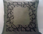 grey beige cushion with intricate zardozi trellis handwork done in size 16x16