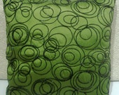 decorative pillow in green /black funky circle taffeta cushion in size 16x16
