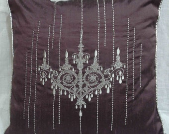 chandelier silver embroidered purple cushion cover 16inchx16inch