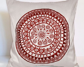 cotton linen white/ivory and red oriental embroidered cushion,modern thrown pillow,sofa pillow,