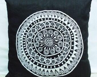 embroidered pillow black pillow decorative pillow kilim pillow african motif white embroidery retro pillow modern pillow home pillow gift