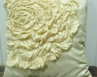beige /cream decorative ruffle rose pillow  in 16inch by 16inch ,modern decorative pillow,home deco,throw pillow,accent pillow,