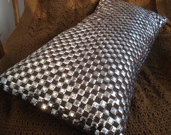 home decor throw pillow metallic silver sequins-decorative pillow-pillow cover-9x20inches available with filler-modern pillow-bling pillow