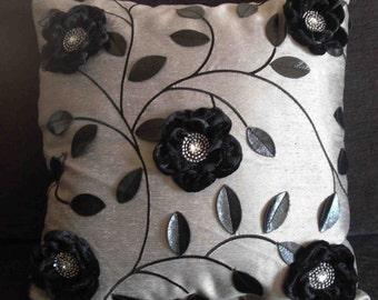 grey black flower leather leaf cushion in size 40cmx40cm
