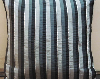 black grey silver stripped cushion in size 40cmx40cm