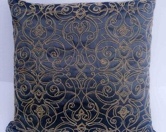 kilim pillow charcoal grey pillow beaded pillow cover  decorative pillows vintage bedding pillow gold beads wedding pillow gift idea