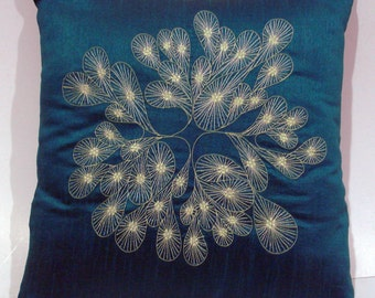 teal green abstract embroidered  cushion in size 16 inch x 16 inch
