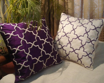 modern purple and white mughal goemetrics cushion-a set of two,16x16 inches,pillow cover,embroideredkilim design,homedecor