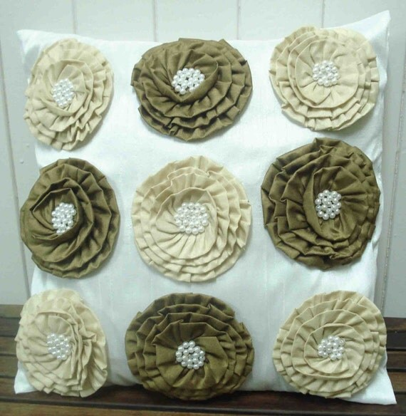 white and  cream flower 3d modern throw decorative pillow cover with pearl beads  cushion cover  in 16inch by 16inch a set of two
