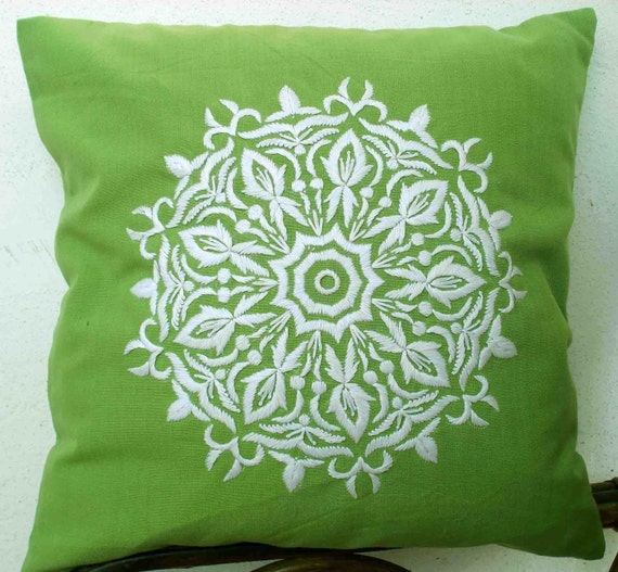16x16 decorative pillow in lime green