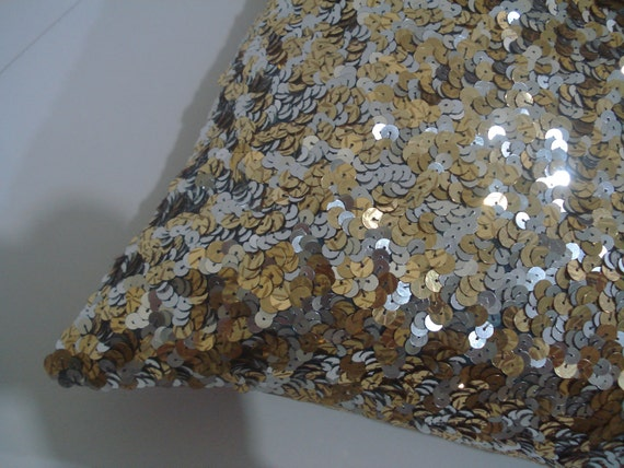 gold and silver sequence glitter cushion
