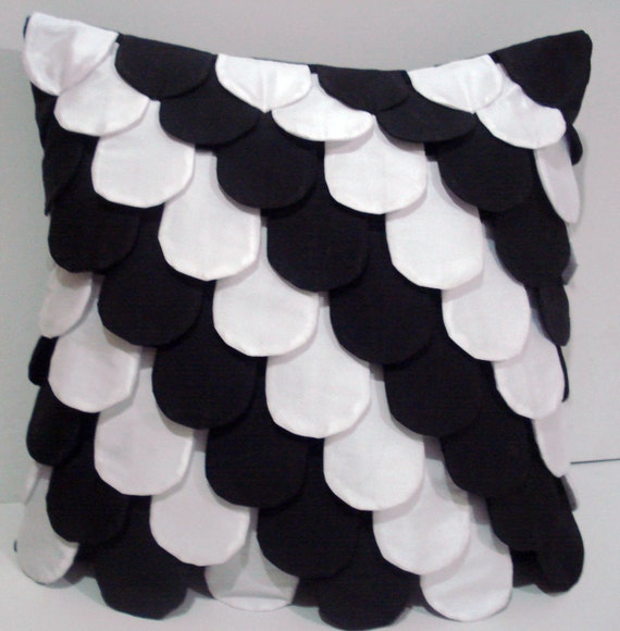 black and white Fish scales cushion home decor pillow vintage style shabby chic bedroom decor silk pillow wedding pillow throw pillow